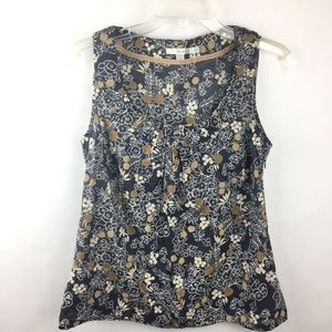 Boden Blue Gold Floral Tank Top